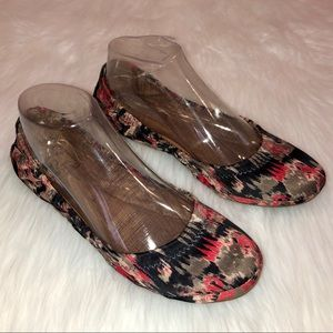 Lucky Brand Silk Fabric Abstract Print Cinch Flat